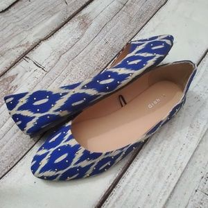 Torrid Blue & Cream Studded Ikat Flats
